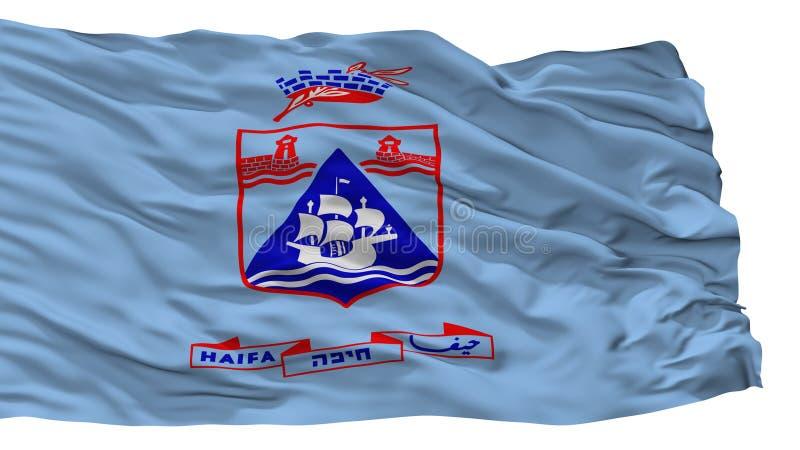 海法市旗子,以色列,隔绝在白色背景 库存例证