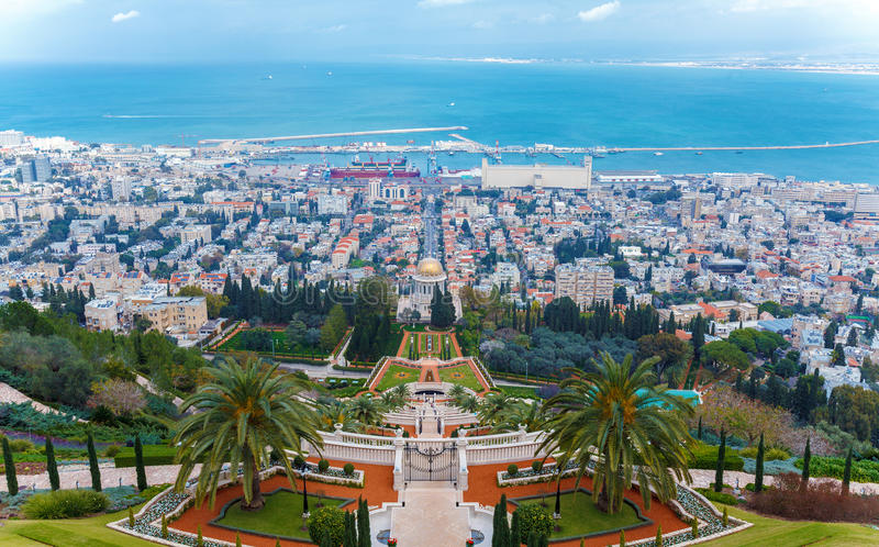海法市,以色列,以色列鸟瞰图  库存照片