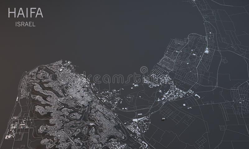 海法,卫星看法,部分3d,以色列 向量例证