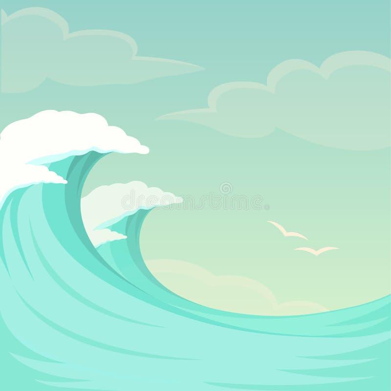 海波浪、海浪背景、水和夏天天空 皇族释放例证