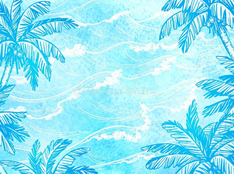 海波浪和棕榈树 库存例证