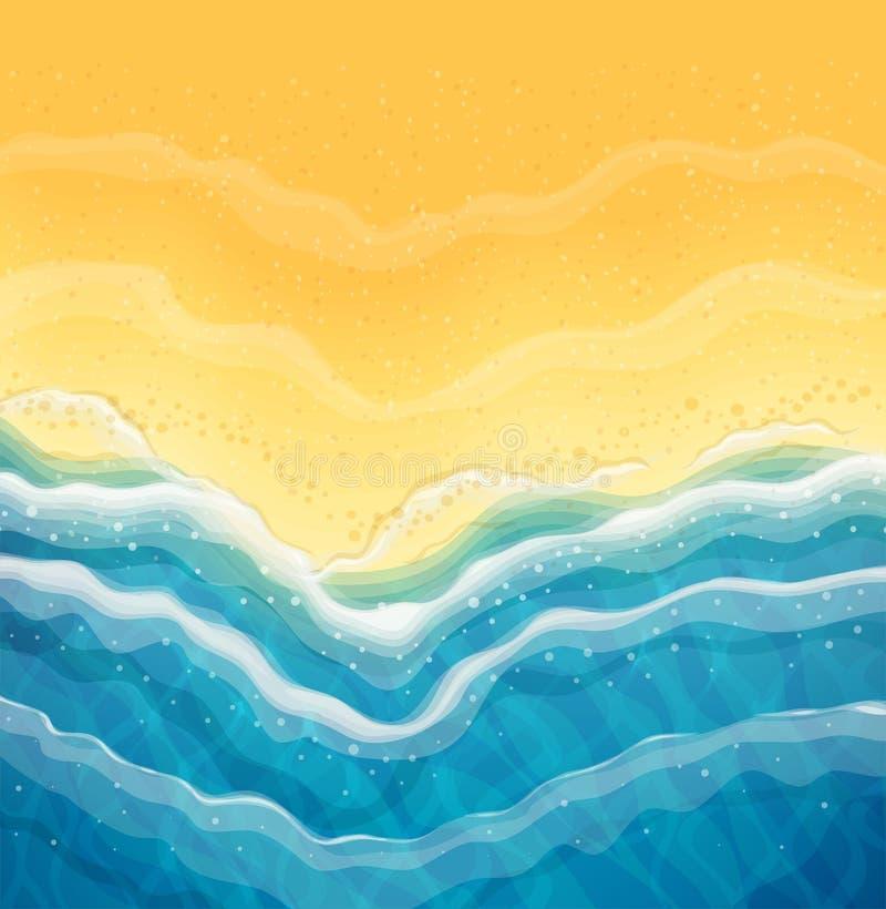 海波浪和沙子海滩 顶视图 库存例证
