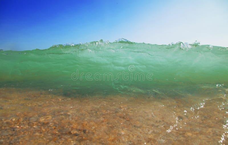 海波浪意想不到的看法作为手段和暑假的标志的 库存图片