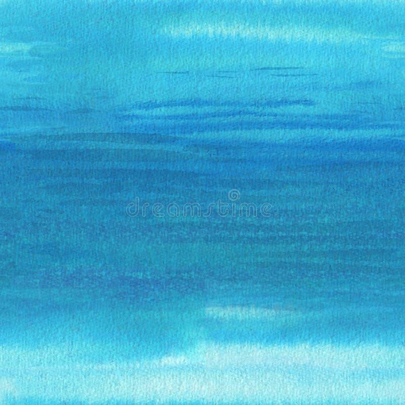 海波浪,无缝的背景 抽象水彩设计 库存例证