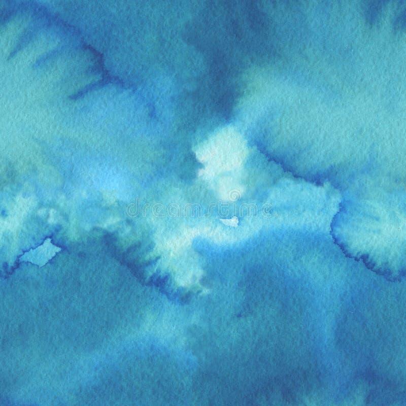 海波浪,无缝的背景 抽象水彩设计 皇族释放例证