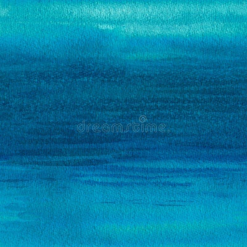 海波浪,无缝的背景 抽象水彩设计 向量例证