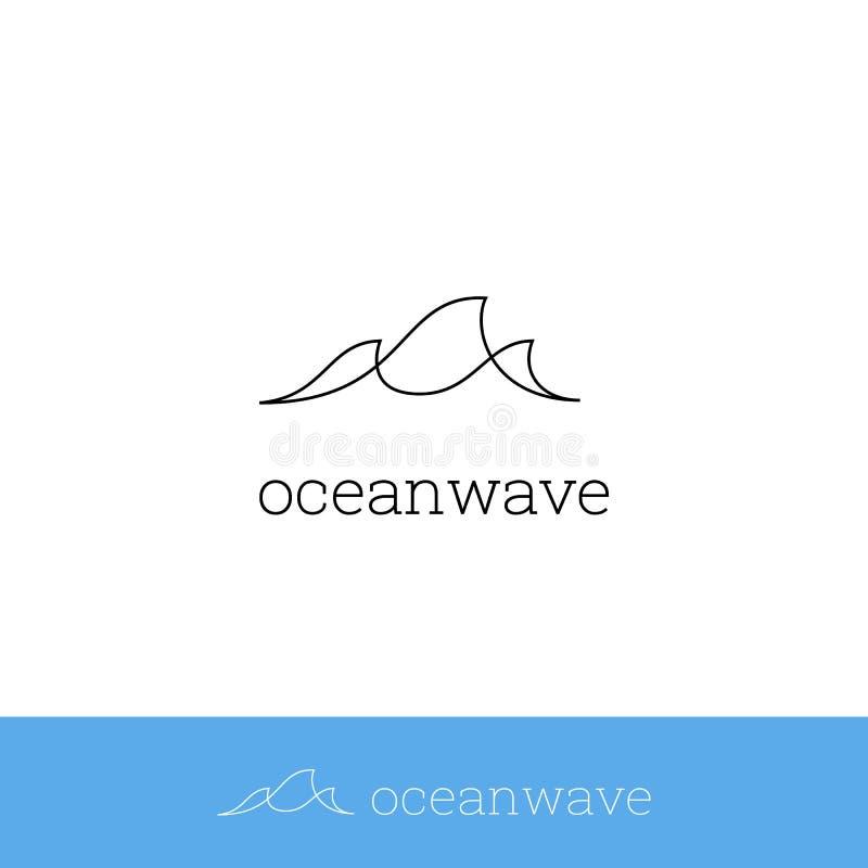 海波浪,海浪商标象简单的monoline现代minimalistic稀薄的线与三波浪的标志设计 皇族释放例证