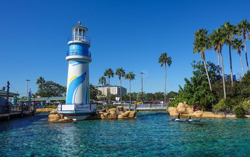 海洋世界入口在一明亮的好日子 免版税图库摄影