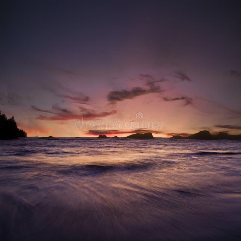 海洋俄勒冈日落 免版税库存图片