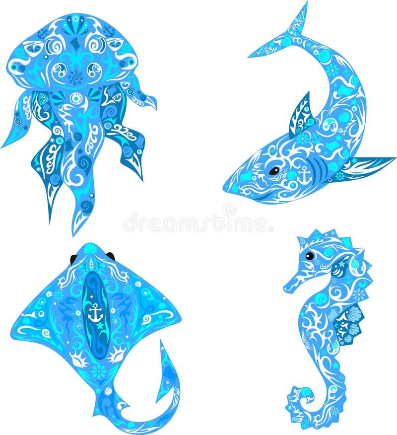 海洋动物、鲨鱼与一个样式在身体,scat与样式,海马、动物住在海的,壳的样式和l 向量例证