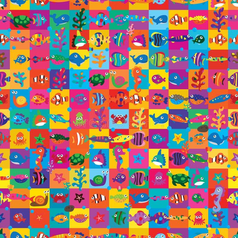 海洋动物正方形样式五颜六色的无缝的样式 向量例证