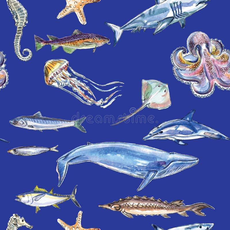 海洋动物的无缝的样式在蓝色背景的 皇族释放例证
