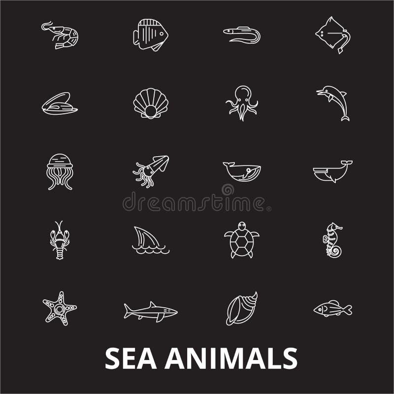 海洋动物编辑可能的线象导航在黑背景的集合 海洋动物白色概述例证,标志,标志 库存例证