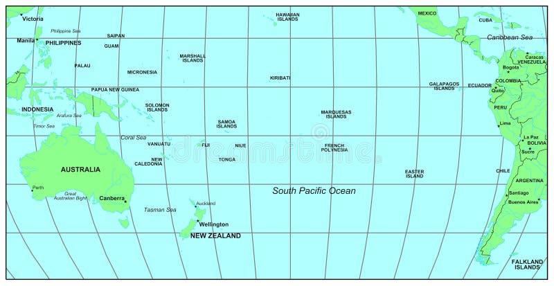 海洋南的太平洋 皇族释放例证