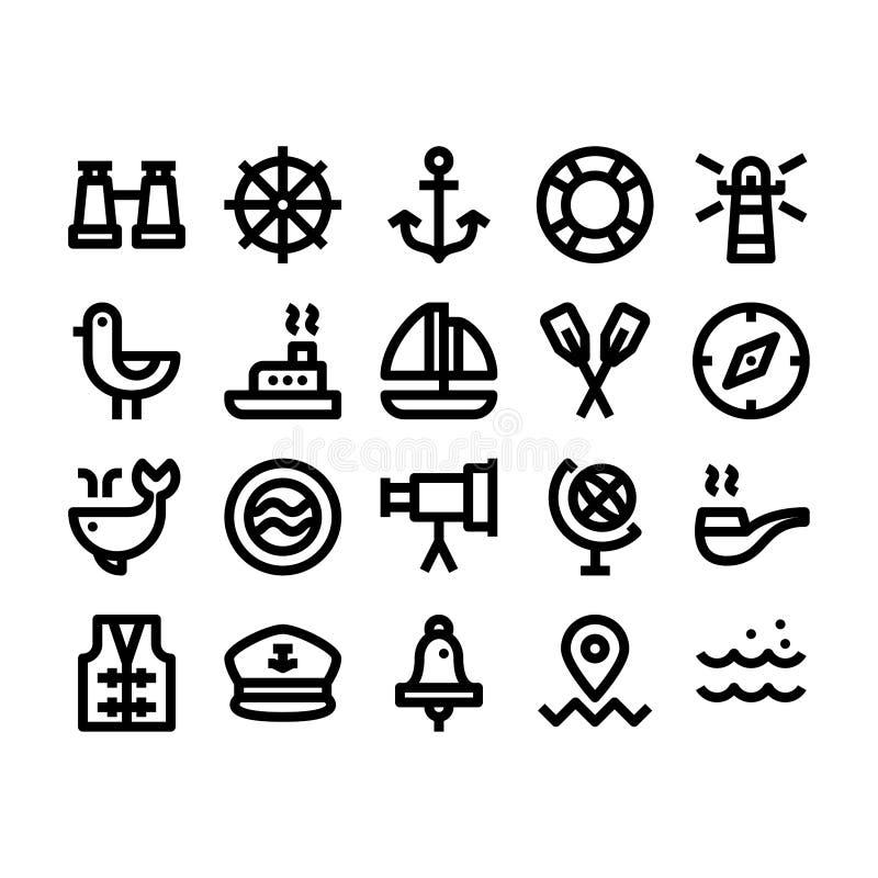 海洋和船舶概述象 向量例证