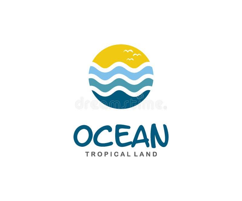 海洋商标设计观念、公园或者旅行商标模板 皇族释放例证