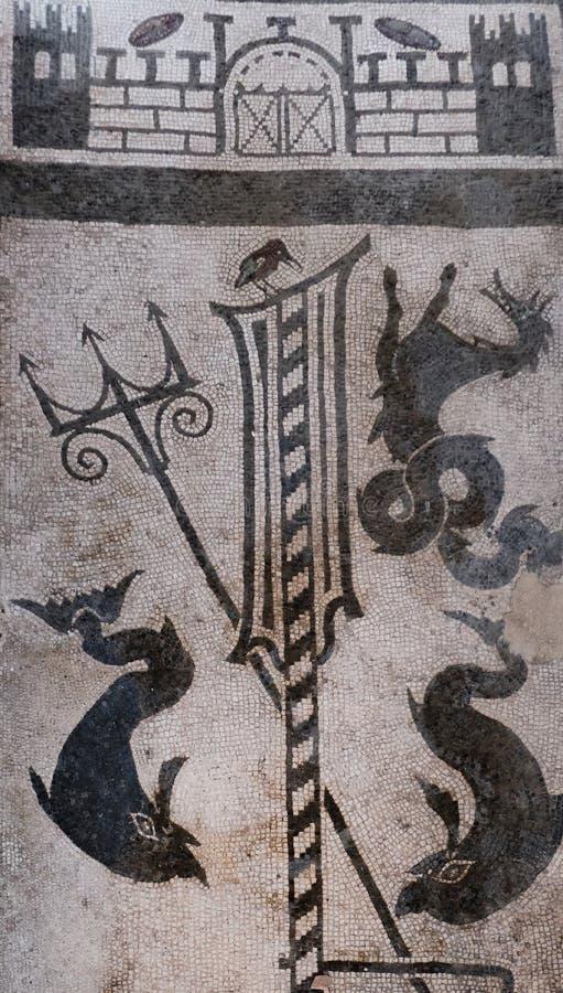 海洋图古老马赛克在一个富有的房子的地板的在庞贝城 库存图片