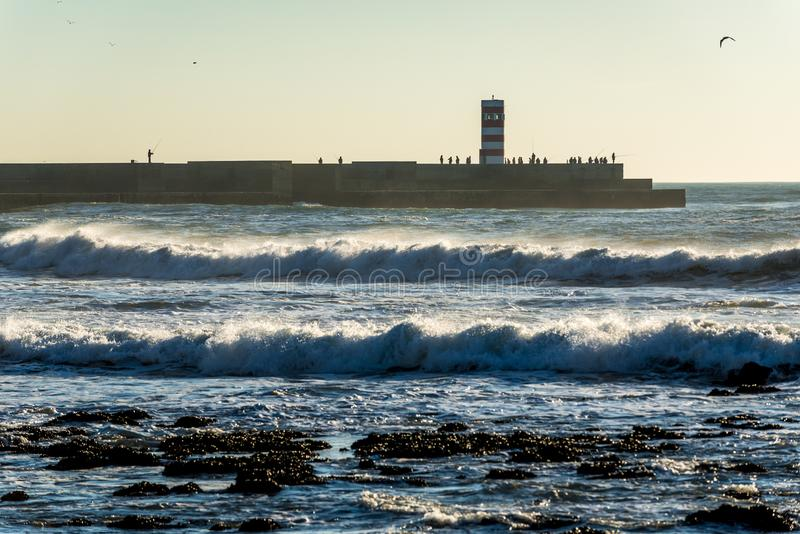 海洋在波尔图 库存照片