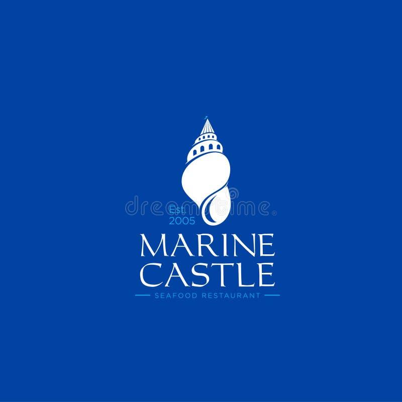 海洋城堡商标 海鲜餐馆象征 旅馆或别墅商标 壳喜欢在蓝色背景的一座城堡 库存例证
