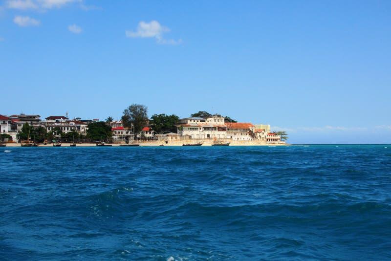 海洋城镇视图桑给巴尔 免版税库存图片