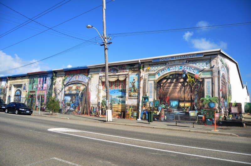 海洋大阳台路的经典大厦家具商店在Fremantle港口城市在珀斯,澳大利亚 图库摄影