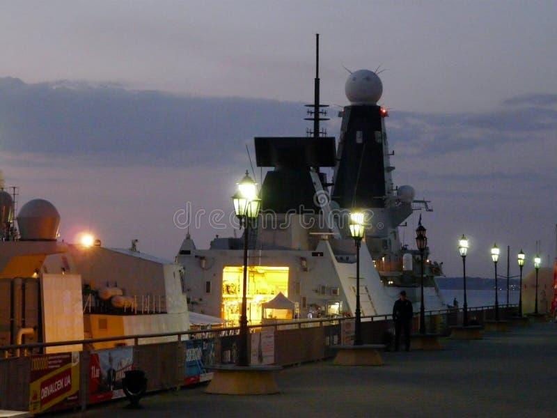 海洋客运枢纽站,堤防,在傲德萨口岸傲德萨,乌克兰的驱逐舰邓肯- 2019年7月 免版税库存图片