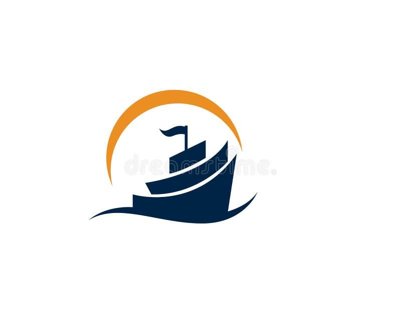 海洋巡航划线员船剪影简单的线性商标传染媒介 库存例证