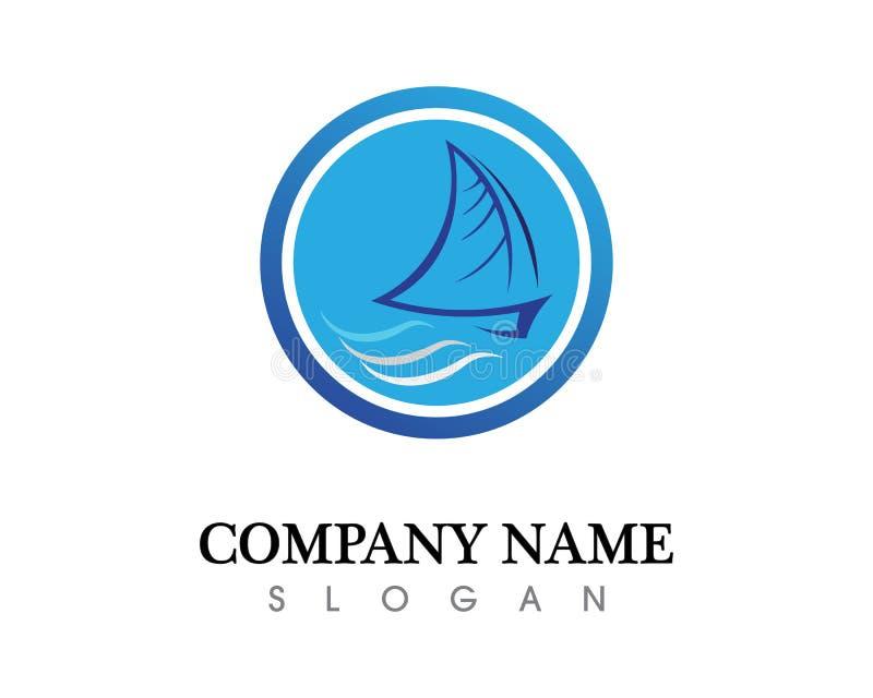 海洋巡航划线员船剪影简单的线性商标 库存例证