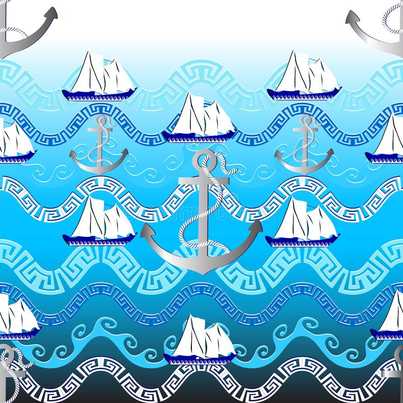 海洋希腊传染媒介无缝的样式 浅兰的船舶backgr 皇族释放例证