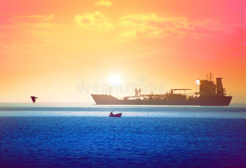 海洋幸福,神奇的日落 免版税库存图片