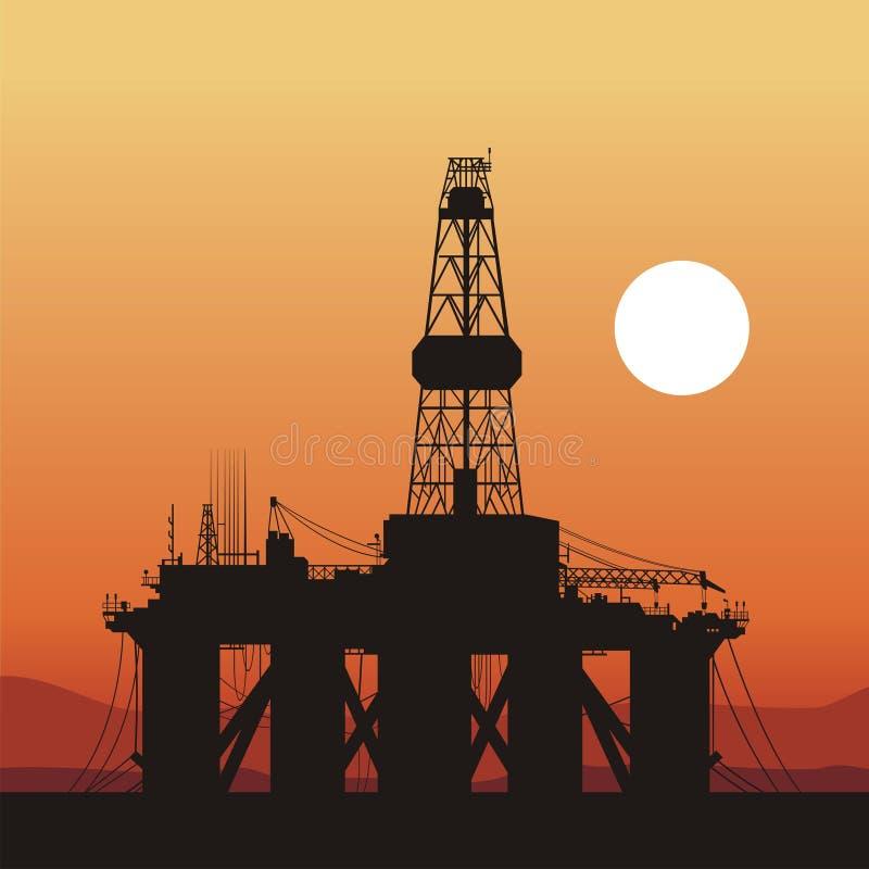 海洋抽油装置发运日落 皇族释放例证