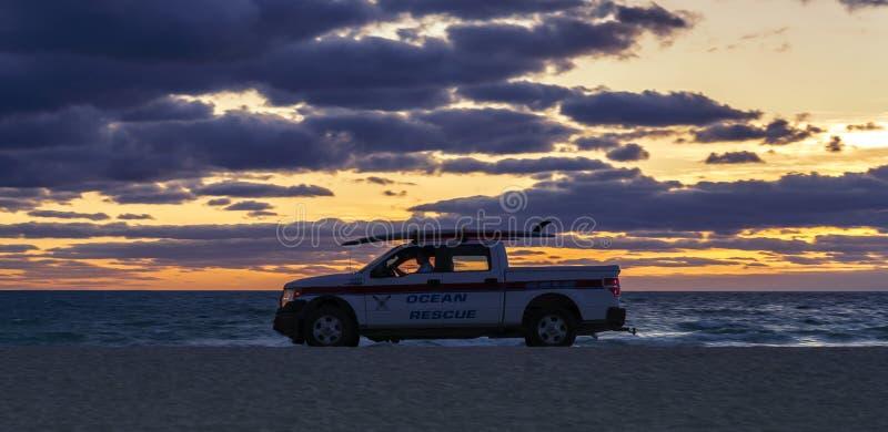 海洋救护车,南海滩迈阿密 库存图片