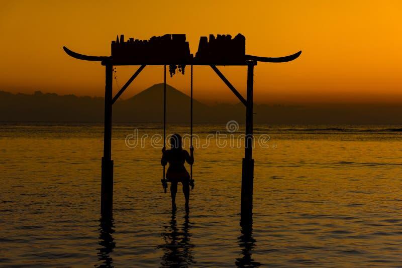 海洋日落, Gili海岛,印度尼西亚 图库摄影