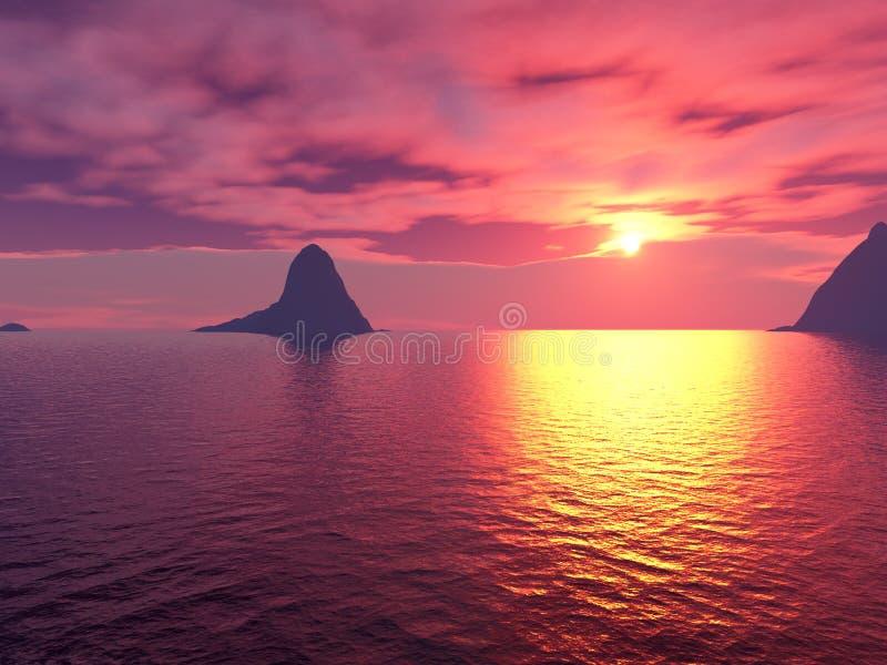 海洋日落 皇族释放例证