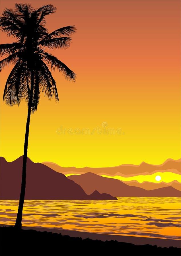 海洋日落 向量例证