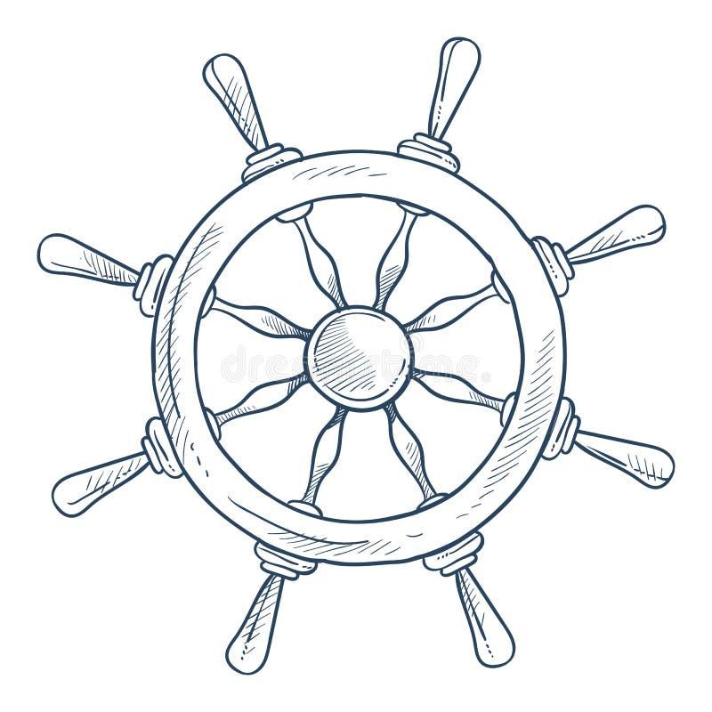 海洋标志指点或船舵轮子船零件 向量例证