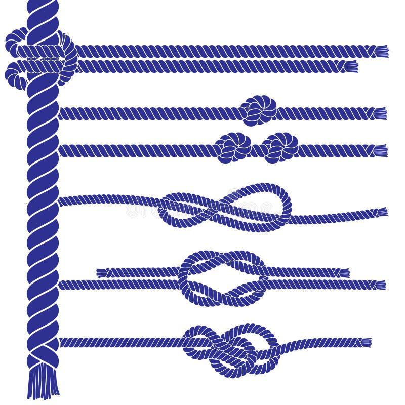 海洋样式绳索元素集 库存例证