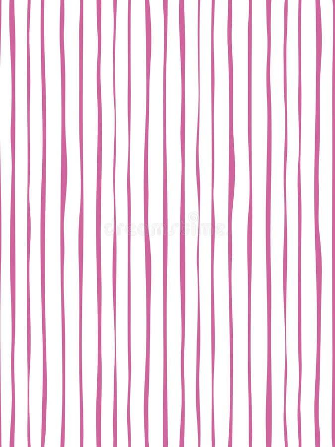 海洋桃红色与手拉的条纹无缝的样式 皇族释放例证