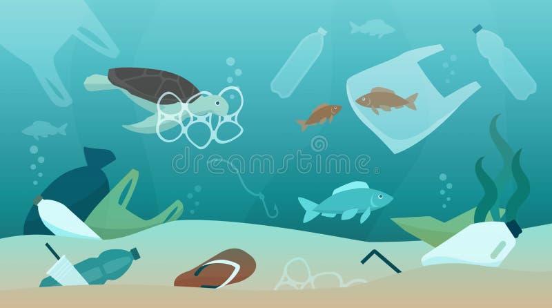海洋污染和它的冲击对生态系 皇族释放例证