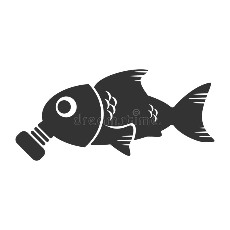 海洋污染概念 在防毒面具和环境问题的鱼 传染媒介图表例证 海洋污染 库存例证