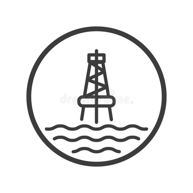 海洋油驻地的线艺术象在圆的框架的 向量例证