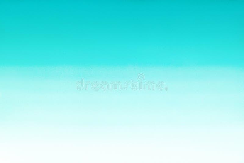 海洋海或天蓝色天蓝色绿松石水彩摘要梯度背景 水平的水彩梯度积土 手拉的te 免版税库存照片