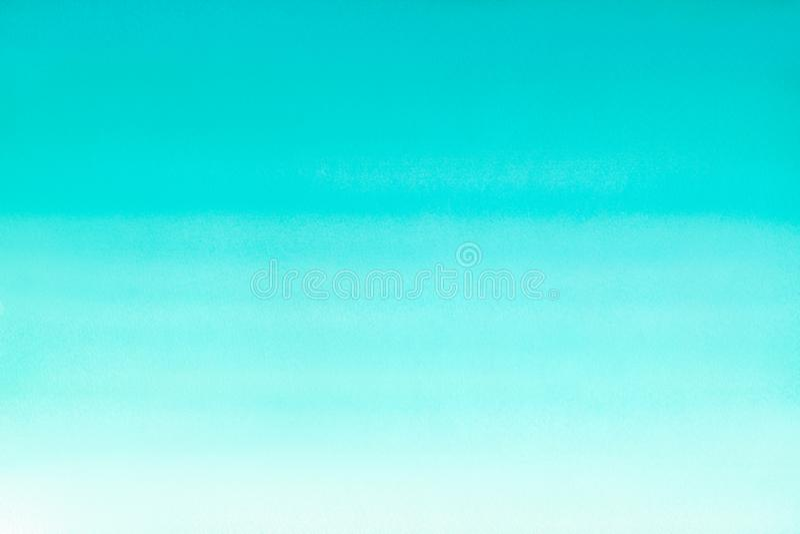 海洋海或天蓝色天蓝色绿松石水彩摘要背景 水平的水彩梯度积土 手拉的纹理 Pi 皇族释放例证