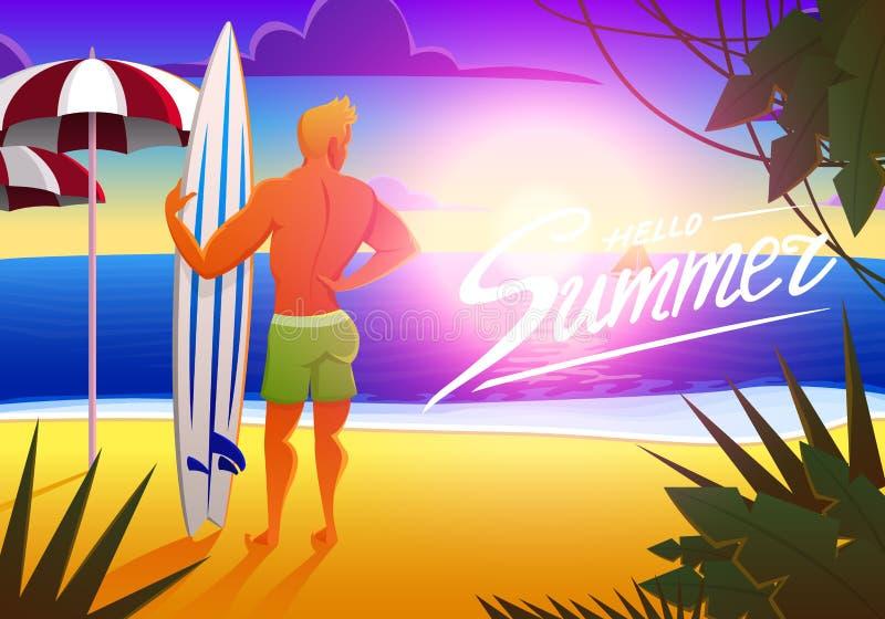 海洋海滩的冲浪者在与冲浪板的日落 传染媒介例证,葡萄酒作用 体育供以人员周末,健康 库存例证