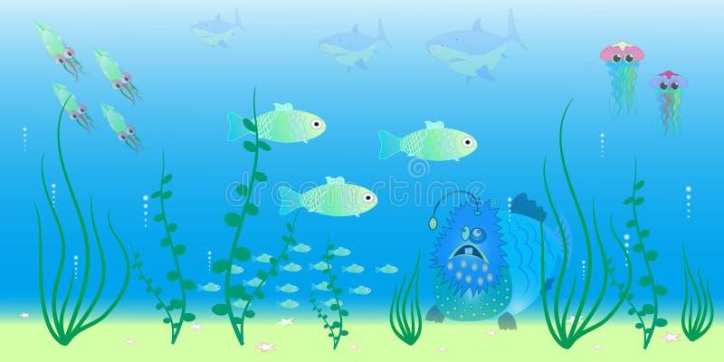 海洋深度传染媒介例证的动物 皇族释放例证
