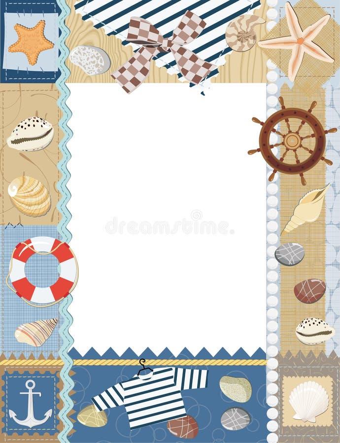 海洋照片框架。 库存例证