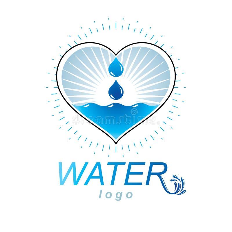 海洋生气勃勃题材传染媒介商标 水洗涤的广告 库存例证