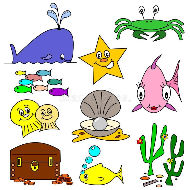海洋生活动画片 库存例证