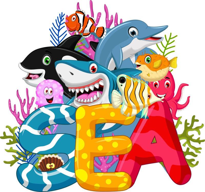 海洋生活动画片 向量例证