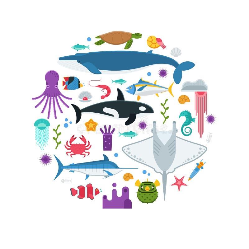 海洋生活概念卡片 向量例证